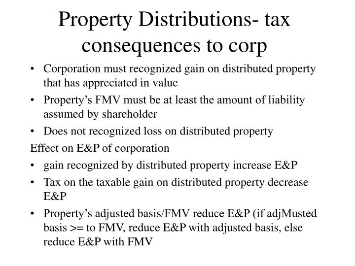 Property Distributions- tax consequences to corp