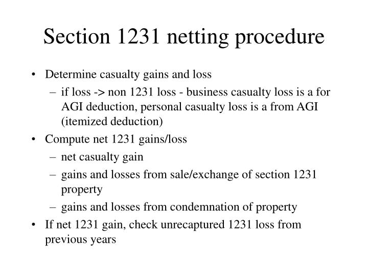 Section 1231 netting procedure
