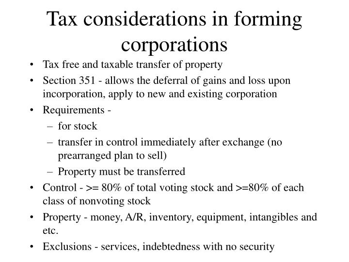 Tax considerations in forming corporations