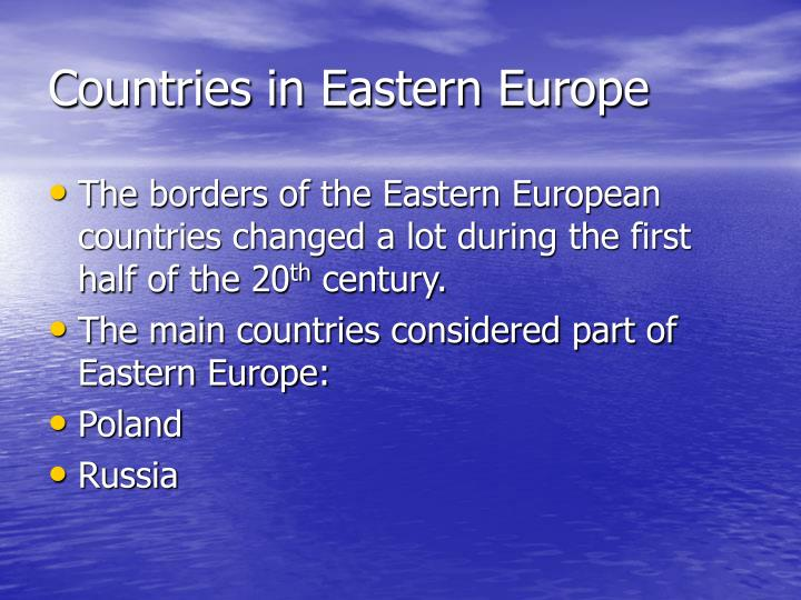Countries in eastern europe