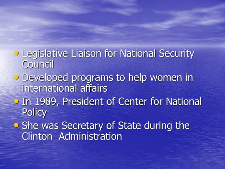 Legislative Liaison for National Security Council