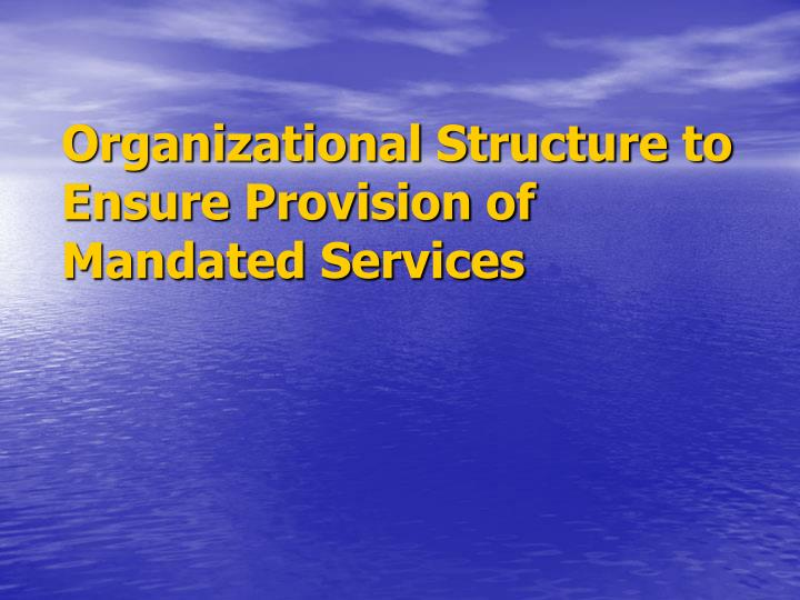 Organizational Structure to Ensure Provision of Mandated Services