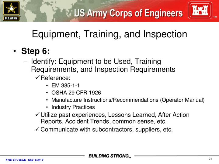 Equipment, Training, and Inspection