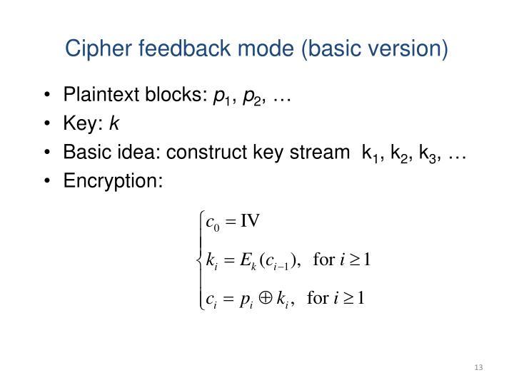 Cipher feedback mode (basic version)