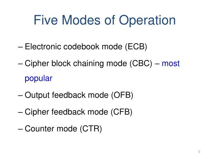 Five Modes of Operation