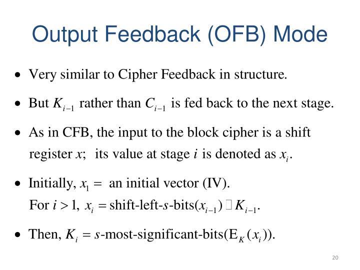 Output Feedback (OFB) Mode