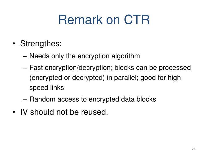 Remark on CTR