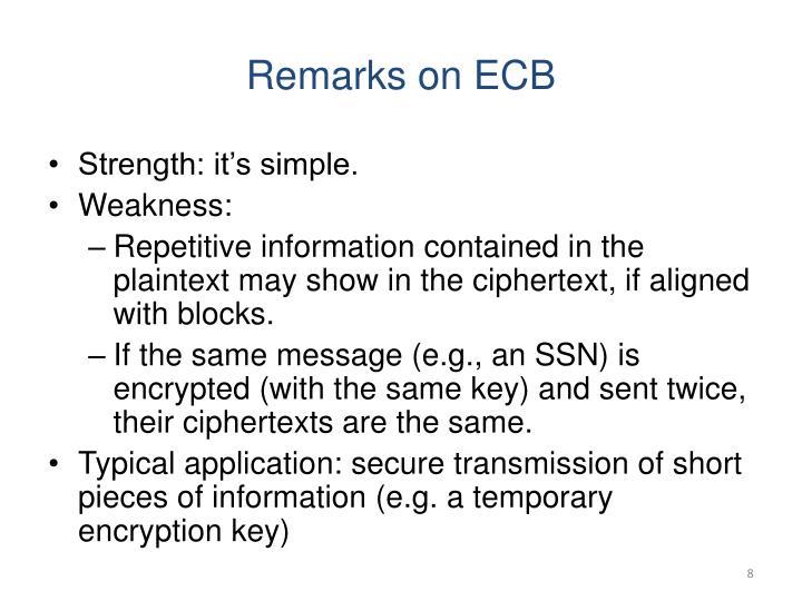 Remarks on ECB