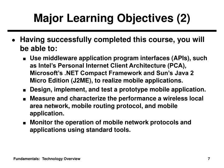 Major Learning Objectives (2)