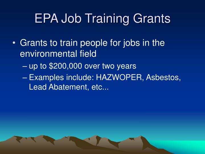 EPA Job Training Grants