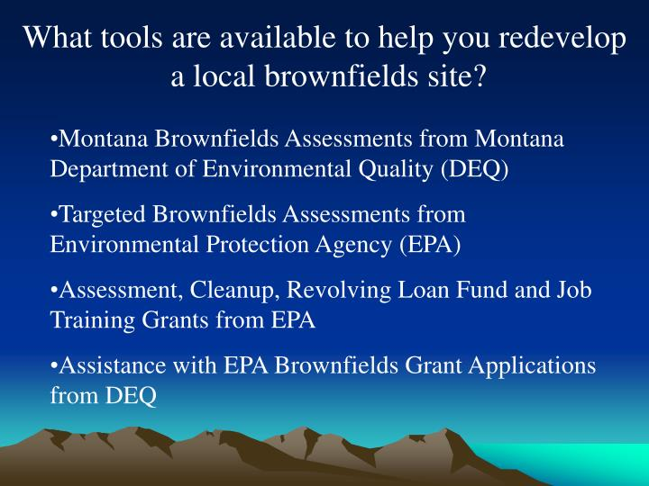 What tools are available to help you redevelop