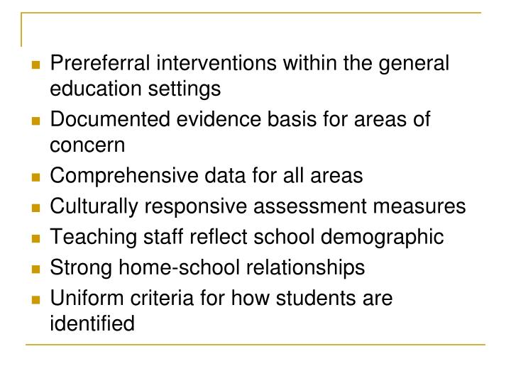 Prereferral interventions within the general education settings