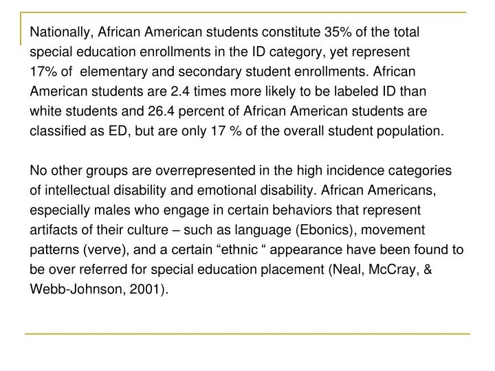Nationally, African American students constitute 35% of the total