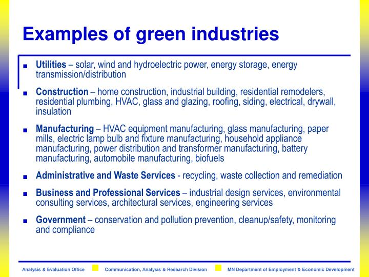 Examples of green industries