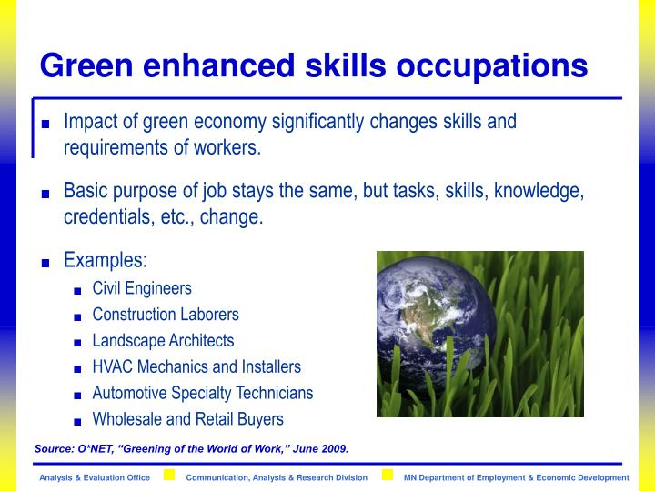 Green enhanced skills occupations