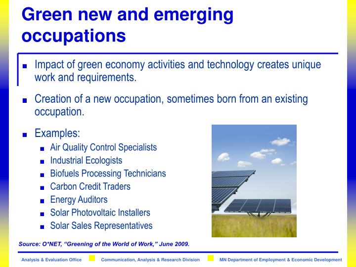 Green new and emerging occupations