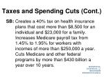 taxes and spending cuts cont