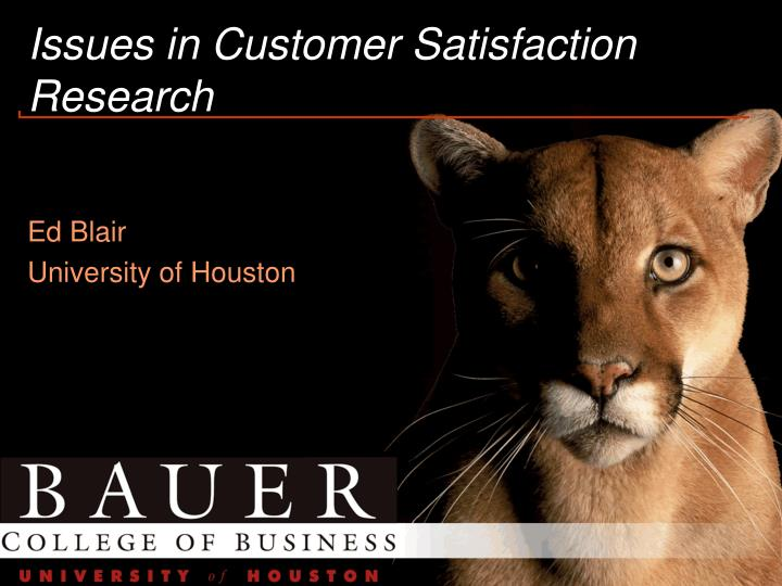 Issues in customer satisfaction research