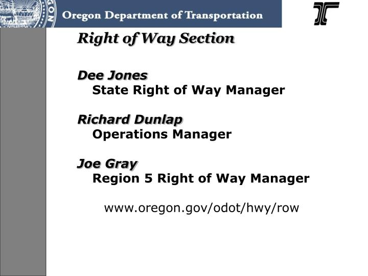 Right of Way Section