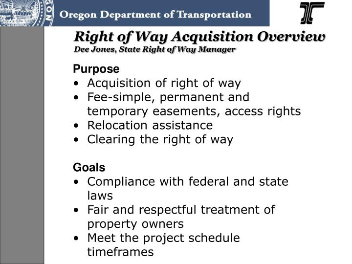 Right of Way Acquisition Overview