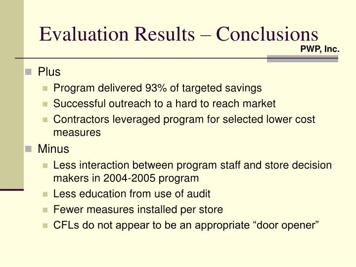 Evaluation Results – Conclusions