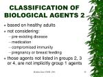 classification of biological agents 21