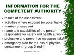 information for the competent authority