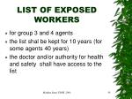 list of exposed workers