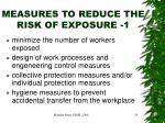 measures to reduce the risk of exposure 1