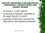special measures for industrial processes laboratories and animal rooms