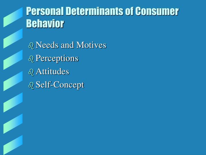 Personal Determinants of Consumer Behavior