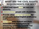 what are the civil rights requirements for wic1