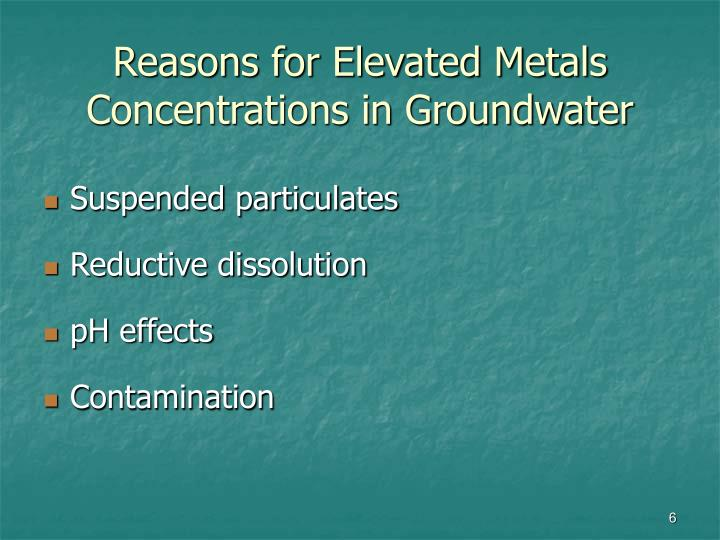 Reasons for Elevated Metals
