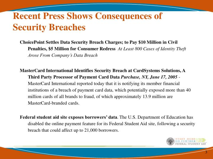 Recent press shows consequences of security breaches