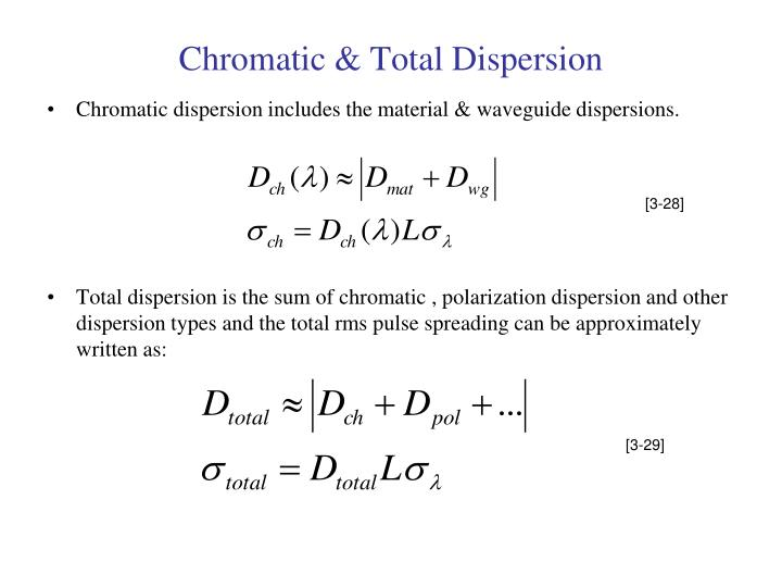 Chromatic & Total Dispersion