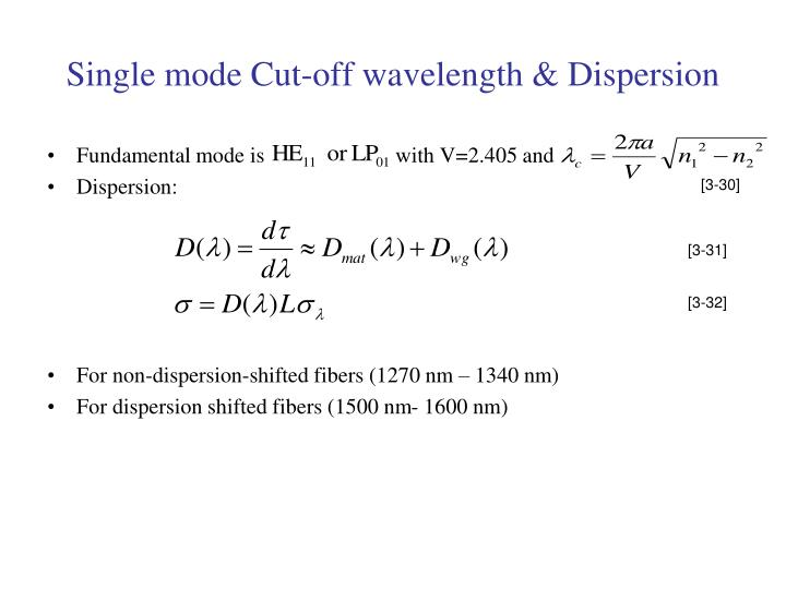 Single mode Cut-off wavelength & Dispersion
