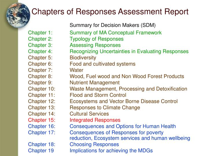 Chapters of Responses Assessment Report