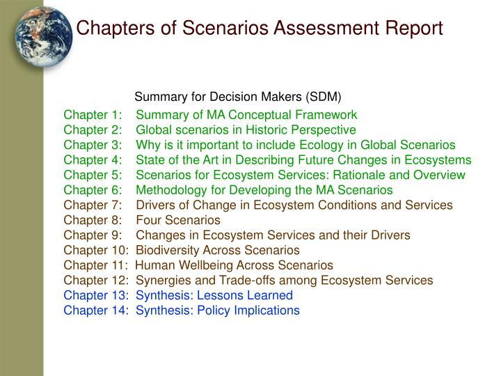Chapters of Scenarios Assessment Report