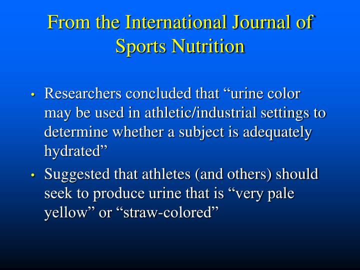 From the International Journal of Sports Nutrition