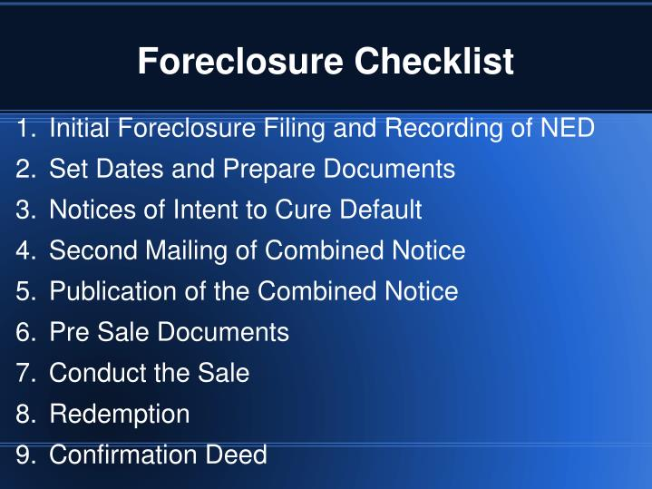Foreclosure checklist1