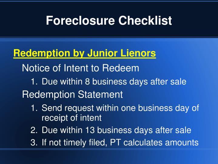 Foreclosure Checklist