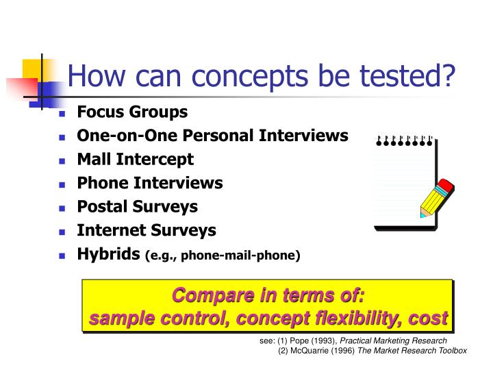 How can concepts be tested?
