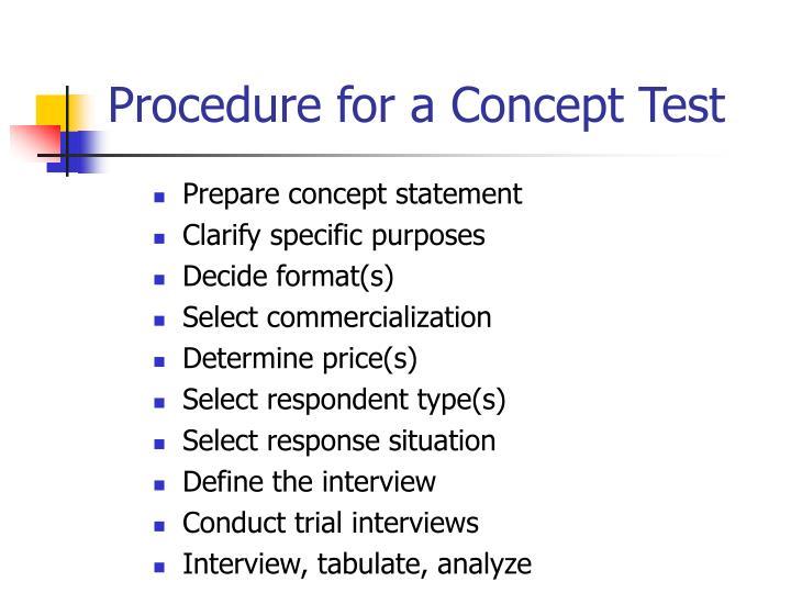 Procedure for a Concept Test
