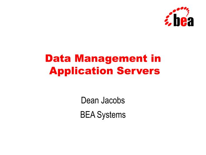 data management in application servers