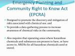 emergency planning and community right to know act epcra