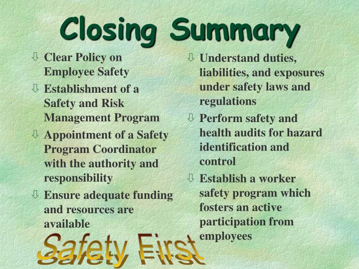 Clear Policy on Employee Safety