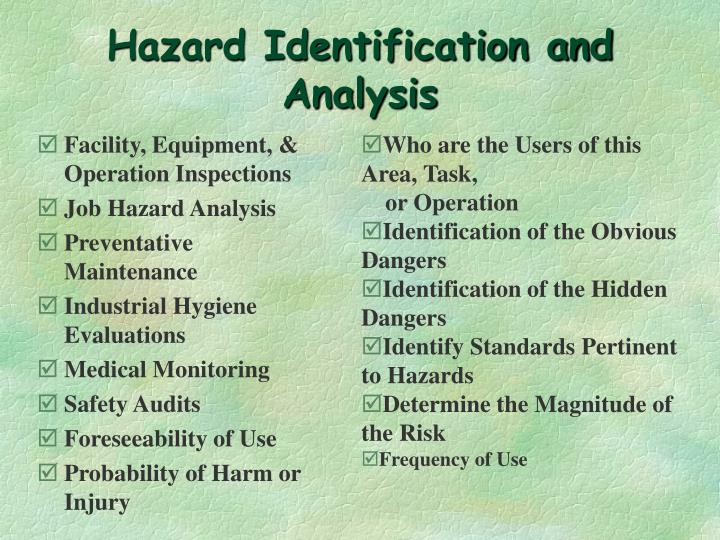 Hazard Identification and Analysis
