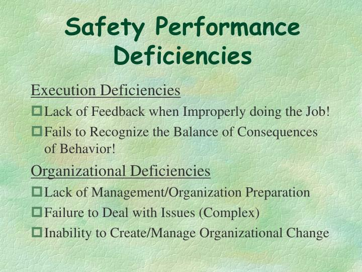 Safety Performance Deficiencies