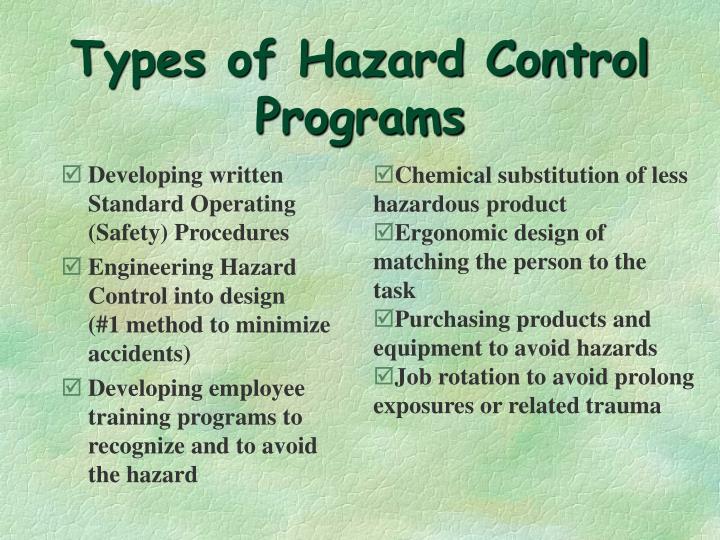 Types of Hazard Control Programs