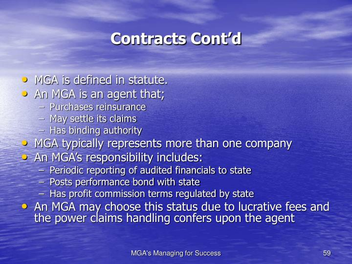 Contracts Cont'd